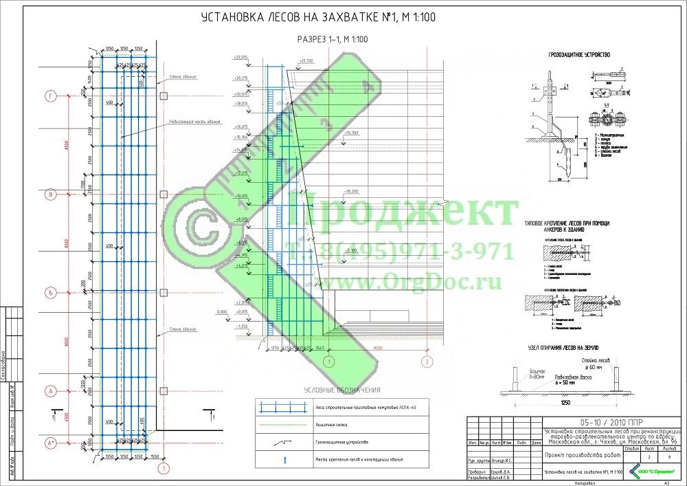 разработка ППР на установку лесов к наклонному фасаду