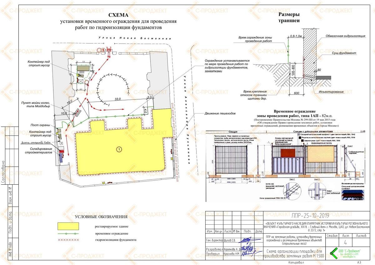 Схема установки временного ограждения для ОАТИ