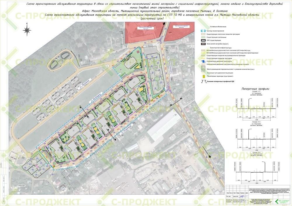 Схема транспортного обслуживания территории, разработанная на основании транспортного моделирования